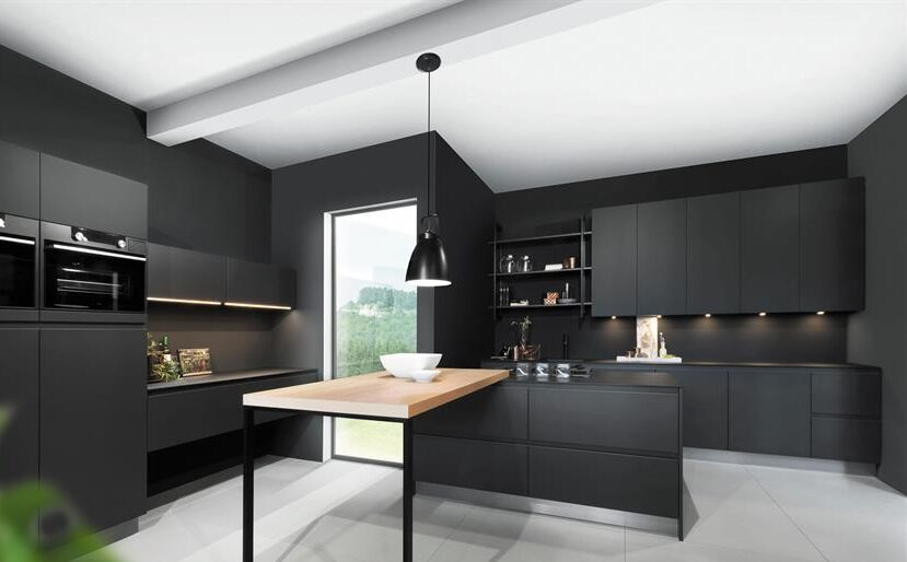 Aranżacja czarnej kuchni