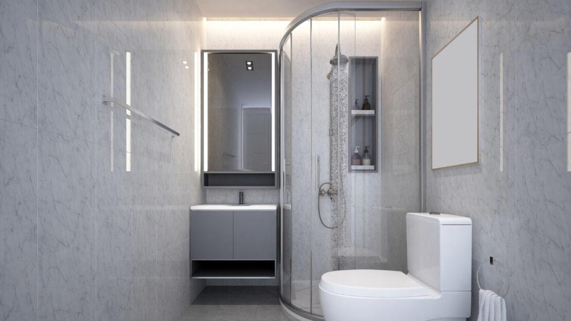 Narożna półokrągła kabina prysznicowa